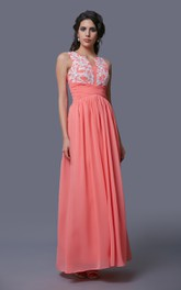 Sleeveless A-Line Chiffon Dress With Lace Appliques and Notched Neck