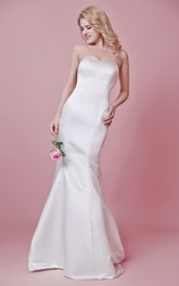 Simple Sweetheart Mermaid Satin and Chiffon Dress