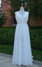 V-Neck Sleeveless Empire Chiffon Wedding Dress With Sash And Split Front