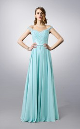 Bateau Neck Lace and Chiffon Long Dress With Illusion Back