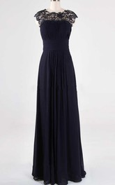 Navy Prom Lace Georgette Bridesmaid Custom Sizes Formal A Line Party Floor Length Evening Prom Long Dress