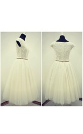Jewel Cap Tea-Length Tulle Wedding Dress With Pleats And Sash
