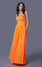 Chiffon Floor Length Strapless Dress With Beaded Top