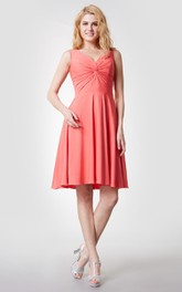 Sleeveless V Neck Ruched Jersey Dress With Knotted Bust