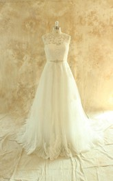 Jewel Sleeveless Deep-V Back Tulle Wedding Dress With Sash And Crystal Detailing
