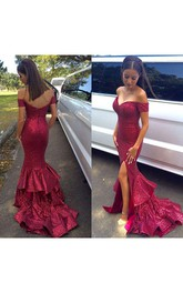 Glamorous Sequined Mermaid Ruffles 2018 Prom Dress Front Split Off-the-shoulder