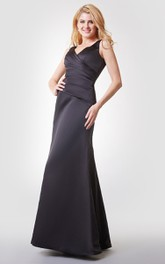 V-back A-line Long Chiffon Dress With Straps