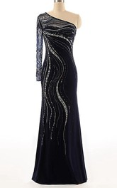 One-shoulder Long Sleeve Chiffon Dress With Beading&Sequins