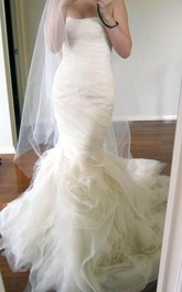 Sweetheart Court Train Tiered Mermaid Ivory Wedding Dress Ruched