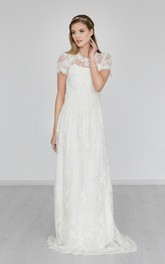Boho High Neck Cap Sleeve A-Line Lace Wedding Dress With Brush Train