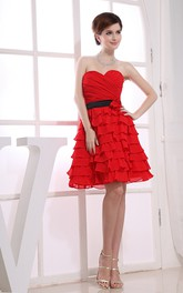 Flamboyant Sweetheart Ruched Dress With Flower and Tiers