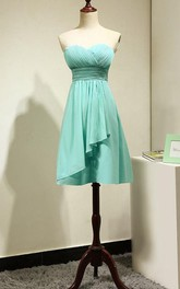 Strapless Short A-line Dress With Ruched Bodice and Pleats