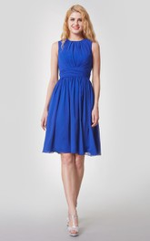 Amazing High-Neck Knee Length Chiffon Dress With Pleats