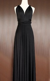 Maxi Length Black Bridesmaid Convertible Infinity Multiway Wrap Prom Long Dress