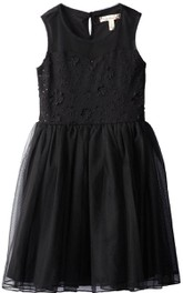 Sleeveless A-line Bowed Jersey Dress With Appliques