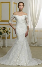 Off-the-shoulder Elegant 3/4 Sleeve Lace Mermaid Bridal Dress With Illusion Button Back