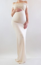 Short Lace Off-the-shoulder Sheath Long Jersey Maternity Dress