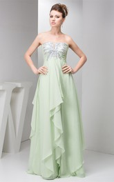 Strapless Empire Chiffon Maxi Dress with Draping and Sequined Top