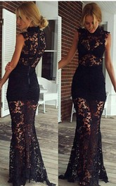 Sexy Black High-Neck 2018 Prom Dresses Lace Sleeveless Sheer Skirt