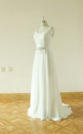 Jewel Cap Backless Long Chiffon Wedding Dress With Crystal Detailing