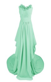Floral Strapless Drapped Chiffon A-line Gown With Train