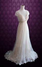 V-Neck Short Sleeve Lace And Tulle Dress With Sash And Bow