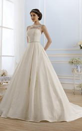 Ball Gown Long Bateau Sleeveless Keyhole Lace Dress With Waist Jewellery