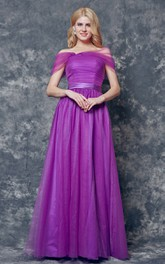 Elegant Off-the-shoulder Pleated Long A-line Tulle Dress
