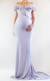 Off-the-shoulder Ruffled Short Sleeve Sheath Long Jersey Maternity Dress
