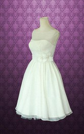 Jewel Sleeveless Knee-Length Chiffon Wedding Dress With Sash And Flower