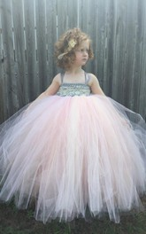 Strapped Pleated Tulle Ball Gown With Flower&Sash Ribbon