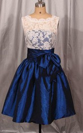 Short Lace&Taffeta Dress With Bow