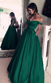 Emerald Green Off The Shoulder Long Evening Prom Dress