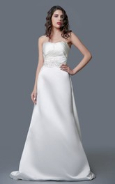 Delicate A-line Long Satin Dress With Beaded Belt