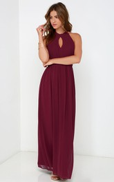 Long A-Line Sleeveless Chiffon Halter Dress