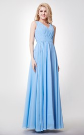 V-neck A-line Chiffon Long Bridesmaid Dress with Keyhole Back