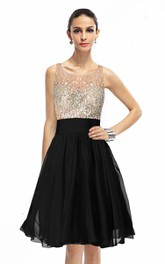 Sleeveless A-line Gown With Rhinestones Bodice