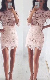 Sheath High Neck 3 4 Length Sleeve Short Mini Lace Homecoming Dress