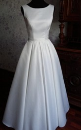 Modern Simple Jewel Neck Sleeveless Long A-Line Satin Wedding Dress