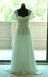 Retro Short Sleeve Floor-Length Chiffon Dress With Lace And Low-V Back