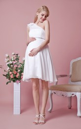 One Shoulder Empire Waist Short Chiffon Maternity Wedding Dress With Flower
