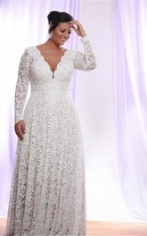 Removable Long Sleeves V Neck Floor Length A Line Lace Plus Size Wedding Dress