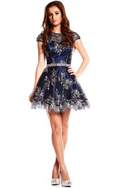 A-Line Beaded Jewel Cap-Sleeve Mini Satin Prom Dress With Keyhole Back And Waist Jewellery