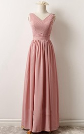 Short Maxi V-neck Chiffon Dress