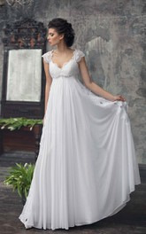 Empire Cap-Sleeve Chiffon Dress With Pleats And Appliques