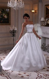 Strapless Satin Ball Gown With Ruching and Beading