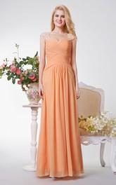Cap Sleeve A-line Ruched Long Chiffon Dress