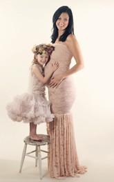 Mermaid Strapless Sleeveless Lace Maternity Dress with Pleats
