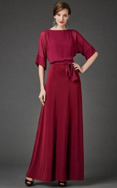 Bateau Neck Half Sleeve Chiffon Dress With Sash