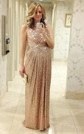 Glamorous Sequined A-line Maternity Prom Straps Sleeveless Dress